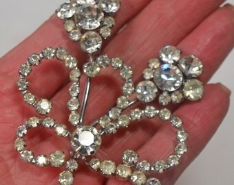 Vintage, Sparkly, Diamante Flower Brooch (2451)