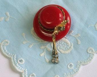Vintage, Red Hat Brooch (2386)