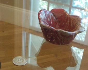 Small Red Flower Ceramic Bowl