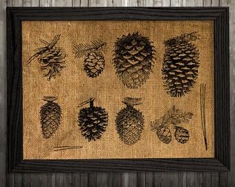 Fall decor Pine print Pine cone art Burlap poster Nature print BLP900