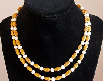 Signed Vintage Marvella Gold Tone and White bead Necklace