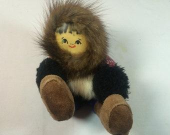 ESKIMO GIRL Hand Made Plush Doll Fur Parka