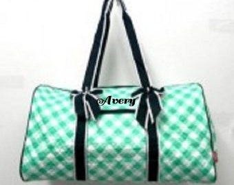 Personalized Quilted Duffle Bag gingham sm207