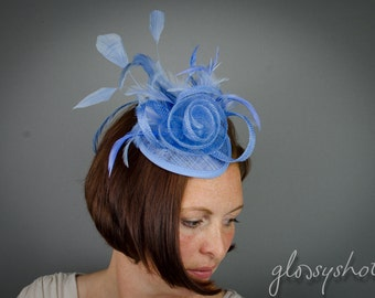 Beautiful Light Blue Sinamay Headpiece With Removeable Hairband