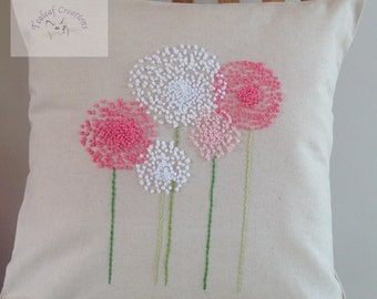 Hand Embroidered Allium Cushion/Pillow - 40cm x 40cm - Natural, Navy or Red