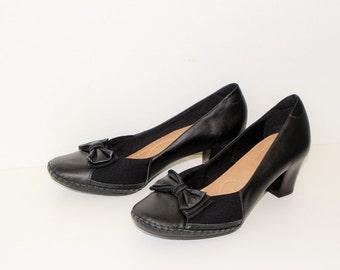 Black Leather Shoes USAFLEX Medium Heel Shoes Round Toe Comfort Shoes Extra Wide Pumps   Comfortable Shoes Large size  EUR 42 43 /  USA 13