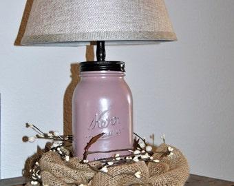 Quart Size Mason Jar Lamp, Mason Jar Lamp, Rustic Lamp, Cottage Lamp, Table Lamp, Mason Jar