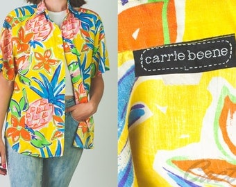 Vintage 1990's yellow Carrie Beene tropical // pineapple // floral print button-up shirt