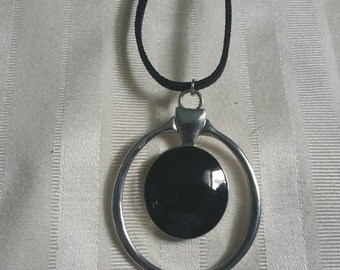 18 inch suede cord black and silver tone pendant