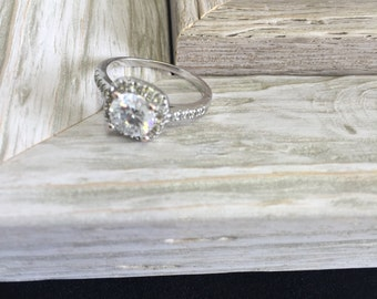 SALE TODAY ONLY - 925 Sterling Silver Engagement Ring - Princess Ring - Princess Cut - Sparkly - Gem Stone - Square Diamond