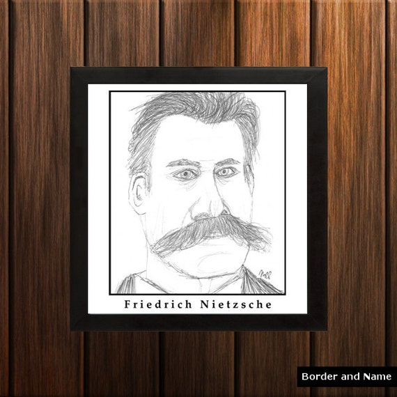 Friedrich Nietzsche - Sketch Print - 8.5x9 inches - Black and White - Pen - Caricature Poster