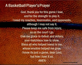 Athlete's Prayer Digital Print, Basketball Poem, Basketball Prayer