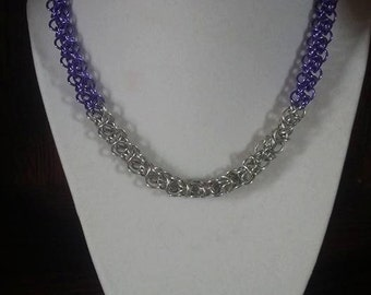 Purple and Silver elf maille choker necklace