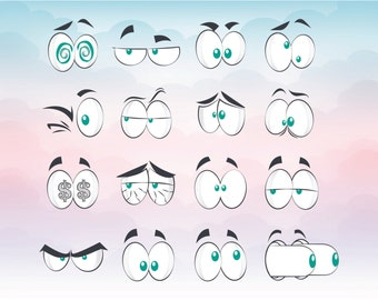 Cartoon Comic style eyes SVG design for cutting machine Silhouette PDF Ai PNG Cameo