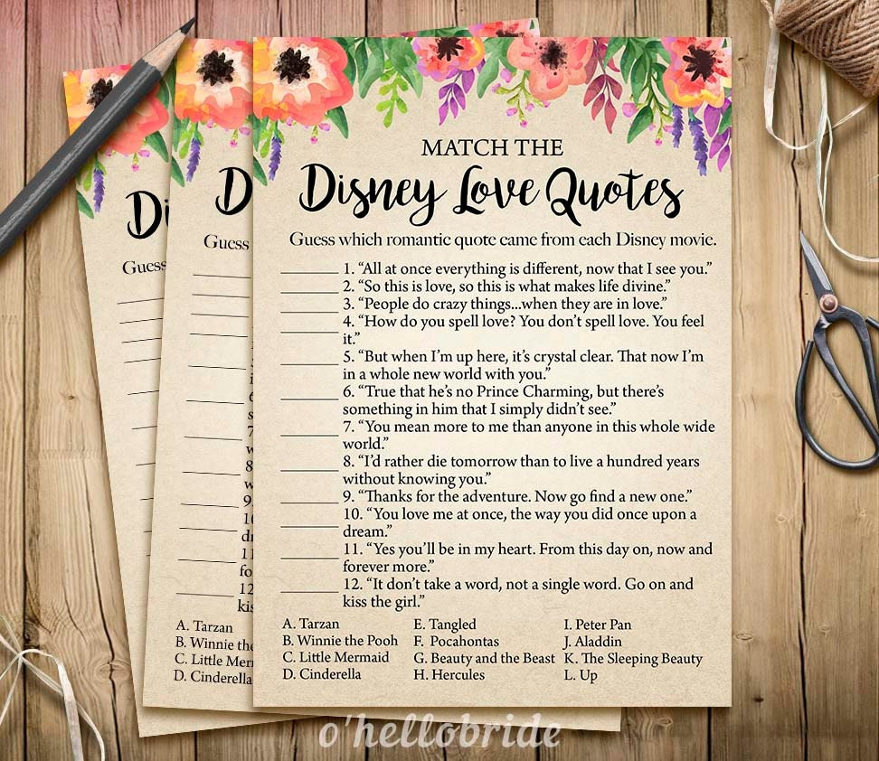 Disney Love Quotes: Disney Love Quotes Match Game Printable Floral Bridal Shower