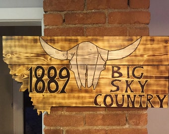 Big Sky Country Bison Skull White