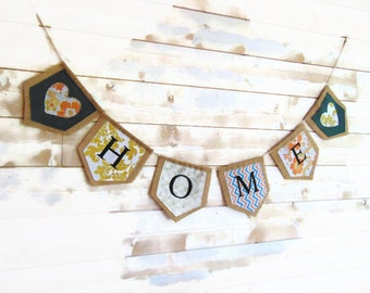 Burlap garland and vintage fabrics,wall decor burlap, decoration by Pleasant Home
