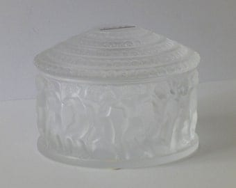 "Lalique Glass Box, ""Enfants,"" Cherubs, With Lid, Frosted Crystal, Signed, With Box, Never Used, Perfect Condition"