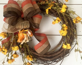Fall wreath, yellow flower, autumn wreath, fall decor, autumn decor, door wreath, farmhouse wreath, grapevine wreath, home decor, wall decor
