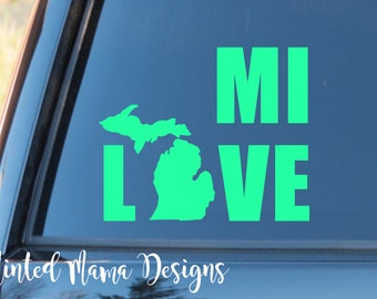 Michigan Decal, MI Decal, Michigan Love Decal, MI Love Decal, Great Lakes Sticker