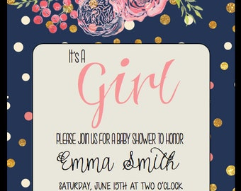 "Printable ""It's A Girl"" Baby Shower Invitation-Floral Garden"