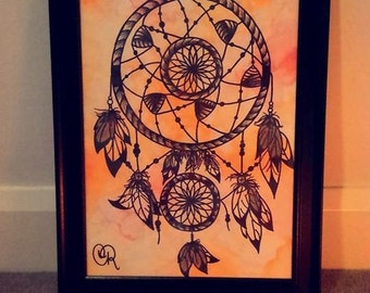 Dare To Dream watercolour painting drawing dreamcatcher wall decor orange art piece