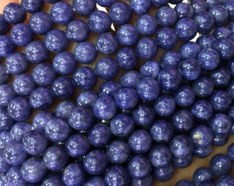 """High Quality Natural Genuine Blue Sapphire Round Loose Gemstone Beads 4mm,6mm,8mm,10mm,12mm,14mm,16mm 16"""" 04071"""
