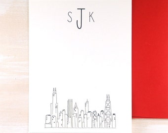 Personalized Stationary Set of 12, Chicago Skyline Art, Gifts for Him Personalized Monogram Stationary, Thank You Cards, Stationery Set