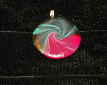 "Round Polymer Clay Pendant ""Luscious"""