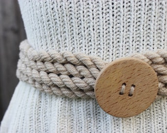 Vintage Rope Belt with Large Wooden Button, Size Medium