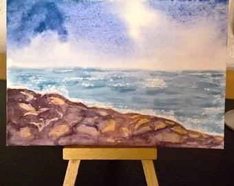 ORIGINAL watercolor hand-painted postcard | Rocky Beach