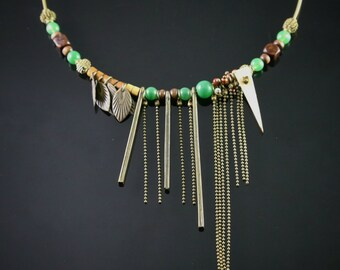 Modern stylish handmade stone necklace