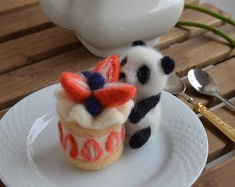 Needle felt panda strawberry cake