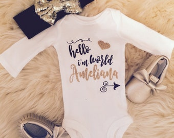 Babygirl newborn custom coming home outfit