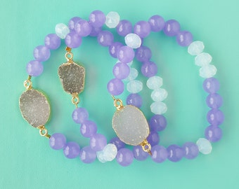 Jade and Druzy Bracelet
