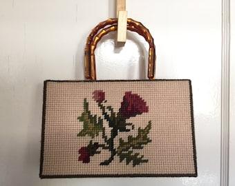 Vintage Knitted Floral Design Handbag With Lucite Handles