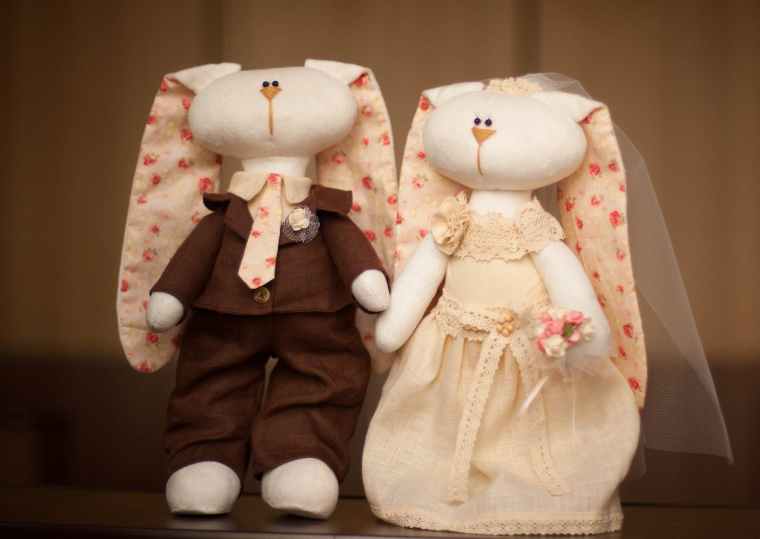 Handmade Wedding Gifts For Bride And Groom: Bride And Groom Custom Wedding Gift Wedding Dolls Bunny
