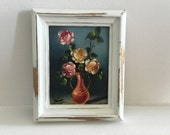 Mini vintage oil painting with white hand painted frame
