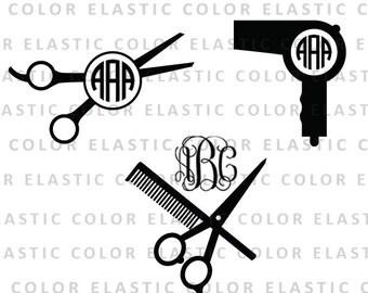 Hairdresser svg, hairdresser monogram svg files - barber salon vector  digital download - hair clipart svg, dxf, eps, png