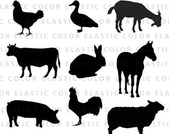 Farm animal svg files - farm animals clipart - farm animals silhouette digital cut file  svg, png, dxf, eps