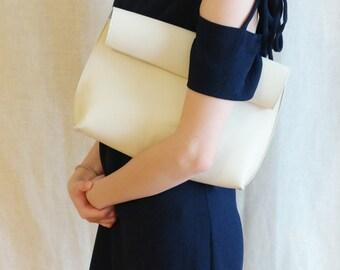 Roll Clutch & Shoulder Bag/ Transforming Leather Bag/ Strap Bag/ Ivory (Baby Blue)