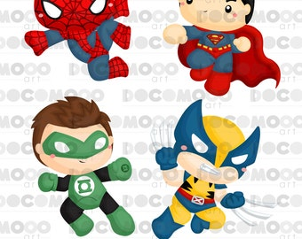 Buy 1 Get 1 !! Chibi Superheroes Clipart / Digital Clip Art for Commercial and Personal Use / INSTANT DOWNLOAD