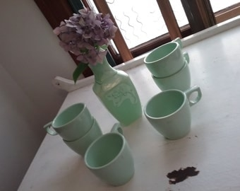 Vintage Melmac, Arrowhead Melmac, Pale Green Cups, Set of 6, 1950s,