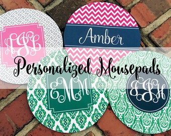 Monogramm Mouse Pad - Choose from 20 Designs Mousepad Mat Monogram Custom Personalized Quote Office Fun Desk Accessories Best Seller