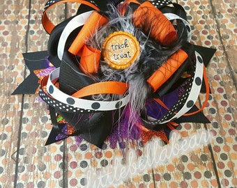 Over the top TRicK or Treat Halloween  Hair Bow  / Headband