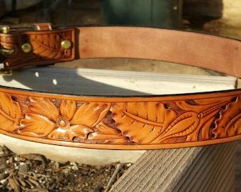 Floral Carved Leather Belt