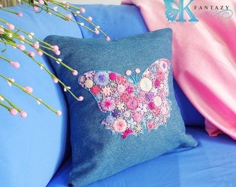 Flower butterfly pillow cover. Embroidered butterfly. Jeans. Summer pillow. Butterfly pillow.Flower pillow. Embroidered pillow