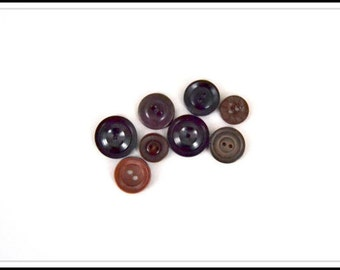 Brown and Black Vintage Buttons - 8 Vintage Buttons