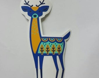 Deer Decal, Whimsical Woodlands Animal Sticker, Enchanted Forest Decor
