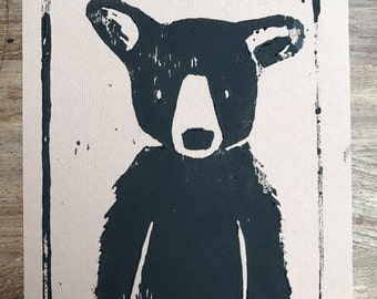 Lino Print Bear - Brown